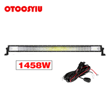 LED Work Light bar 34 Inch 3-Row 1458W 145800LM Combo Beam Straight Curved Lamp Driving for Truck Trailer 4X4 4WD ATV SUV 12V