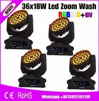 4pcs/lot 36*18w led moving head zoom RGBWY UV 6in1 wash led lyre light