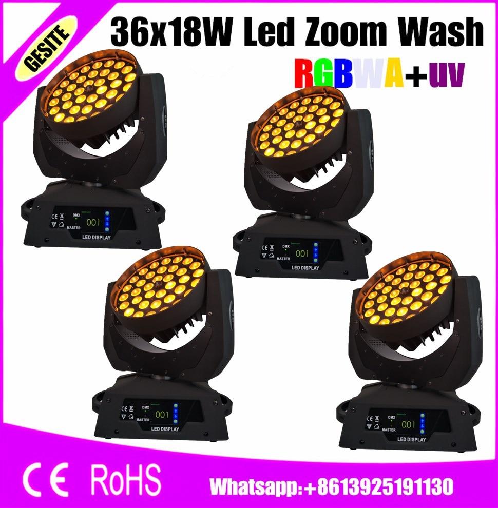 4pcs/lot 36*18w Led Moving Head Zoom Rgbwy Uv 6in1 Wash Led Lyre Light Commercial Lighting Lights & Lighting