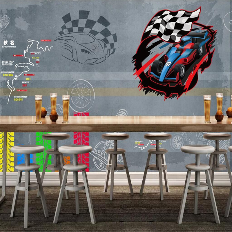 Retro racing hand-painted bar car background wall manufacturers wholesale wallpaper mural custom photo