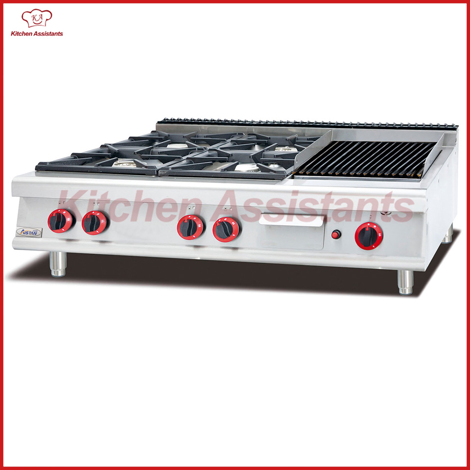 GH999-1 gas range with 4 burner with lava rock grill gh2 gas range with 2 burner for commercial use