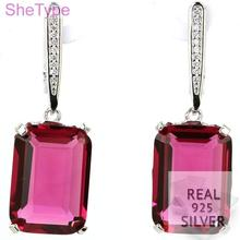 11.0g Real 925 Solid Sterling Silver Ravishing 18x13mm Pink Tourmaline Cubic Zirconia Gift For Girls Earrings 45x13mm