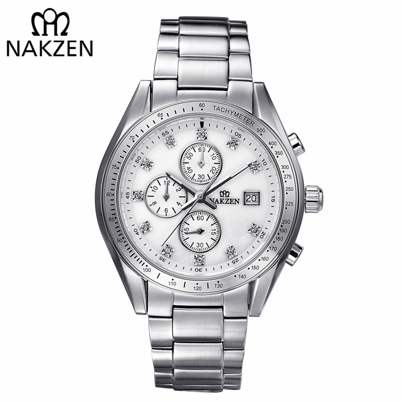 NAKZEN Brand Luxury Men Watches Stainless Steel Clock Sport Quartz Edifice Watch Male Casual Business Watch Relogio Masculino nakzen diamond men watch luxury brand sapphire watches mens stainless steel black gold wristwatch male clock relogio masculino