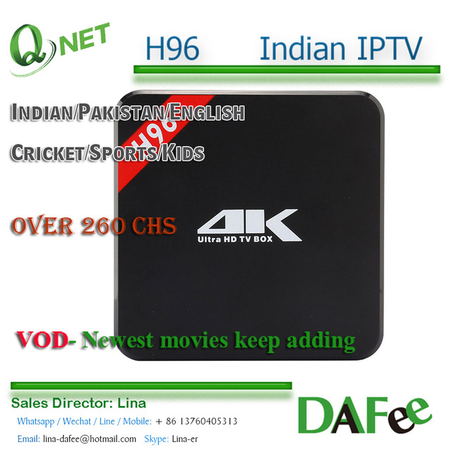 4K Android HD TV H96-Box+Indian IPTV Subscription Apk India Pakistan Bangladesh Watch 260 Live Channels VOD Trial Free DHL Ship