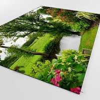 Anderes Grün Gras Blau See Park Floral Natur 3d Print Non Slip Mikrofaser Wohnzimmer Dekorative Moderne Waschbar Bereich Teppich matte