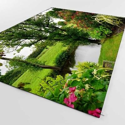 Else Green Grass Blue Lake Park Floral Nature  3d Print Non Slip Microfiber Living Room Decorative Modern Washable Area Rug Mat