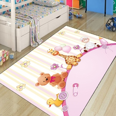Else Pink Yellow Giraffe Bear Lamp Animals Girls 3d Print Non Slip Microfiber Children Kids Room Decorative Area Rug Kids  Mat