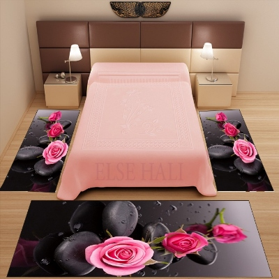 Else 3 Piece Black Floor Pink Roses Spa Stones 3d Pattern Print Non Slip Microfiber Washable Decor Bedroom Area Rug Carpet Set