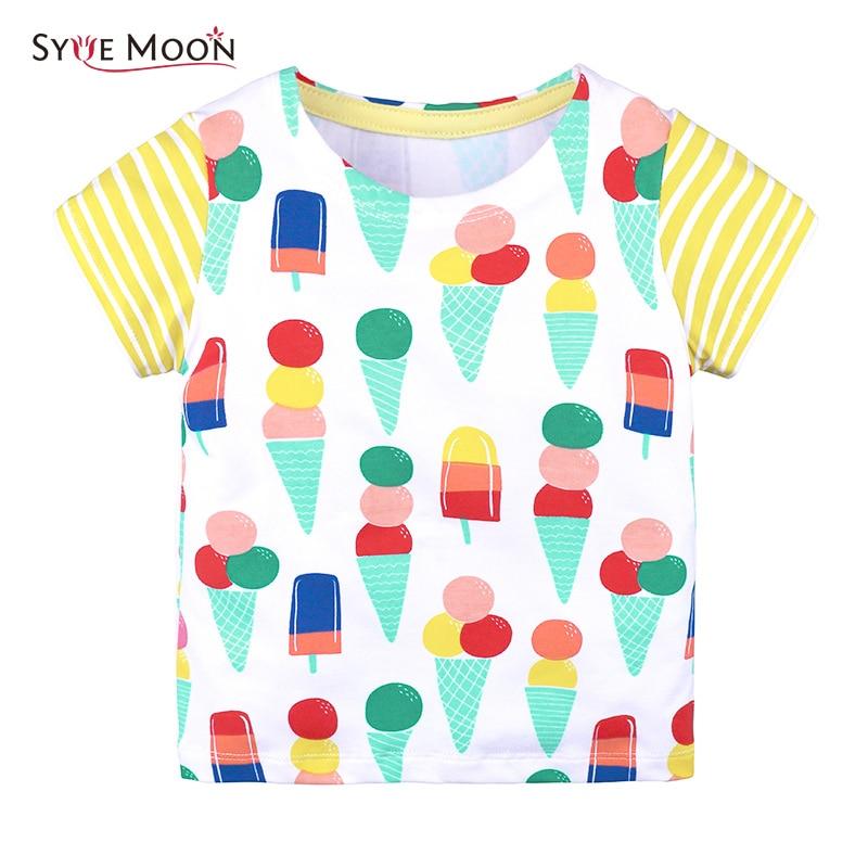 Boys Girls Short Sleeve T Shirts Clothes 2018 Children Fashion Ice Cream Tops 95%cotton Kids Clothing Baby Boys Girls Tshirts