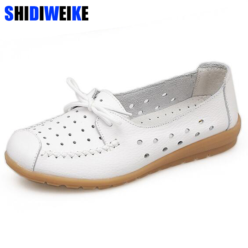 2019 Summer women flats shoes women genuine leather shoes ladies Cutout Slip on ballet flats loafers ballerina flats N030(China)