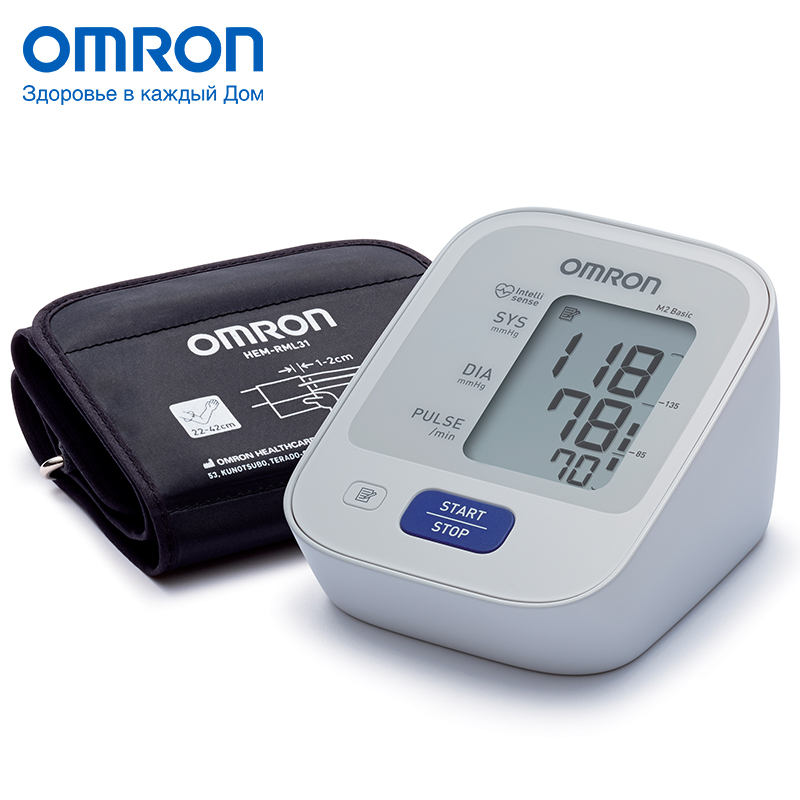 Omron M2 Basic (HEM-7121-ALRU) Blood pressure monitor Home Health care Heart beat meter machine Tonometer Automatic Digital omron m6 hem 7213 aru blood pressure monitor home health care monitor heart beat meter machine tonometer automatic digital