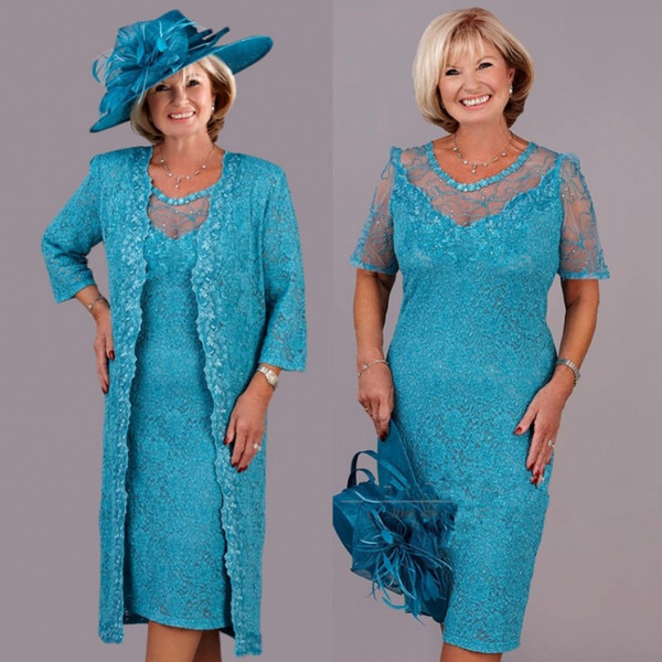 Turquoise Lace Mother Of The Bride Dresses 2019 With Wrap Plus Size Tea Length Wedding Party Gowns Vestidos De Novia Madrinha
