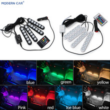 MODERN CAR 2019 New Arrival 4 In 1 6 LED RGB DRL Car Interior Strip Light Decorative Atmosphere Lamp Remote/Music/Voice Control(China)