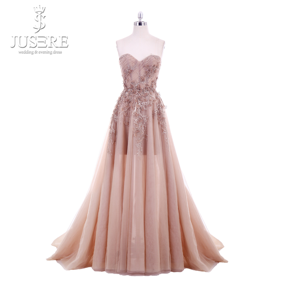 Jusere 2018 New A Line Sweetheart Applique Top Sweep Train Zipper up Back Illusion Long Prom Dress Lace Appliques Evening GownsProm Dresses   -