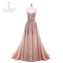 Jusere 2018 New A Line Sweetheart Applique Top Sweep Train Zipper up Back Illusion Long Prom Dress Lace Appliques Evening Gowns