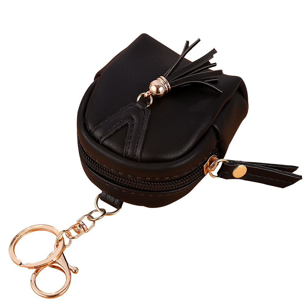 Fashion Women Tassels Zip Faux Leather Coin Pouch Mini Key Chain Backpack Bag faux leather flowers mini backpack