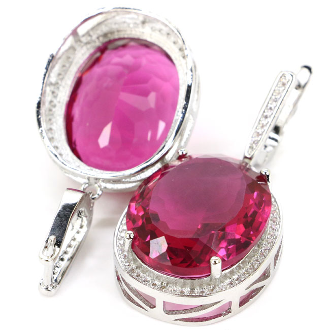 Big 17 5g Oval Gemstone 22x18mm Pink Tourmaline White Cubic Zirconia Woman 39 s Party Silver Earrings 40x20mm in Earrings from Jewelry amp Accessories