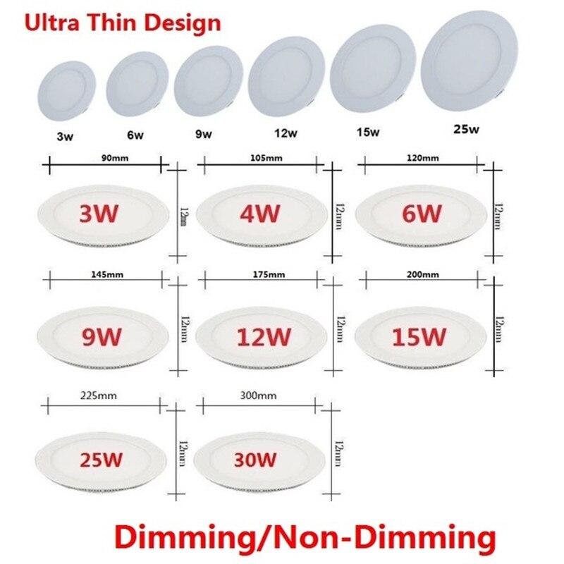 Darmowa wysyłka 3 W-25 W ciepły biały/naturalna biel/zimny biały oprawa led wpuszczana W sufit downlight/szczupła okrągła lampa panelowa + napęd