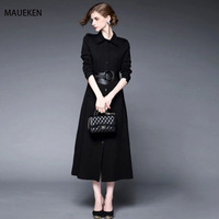 Maueken Women A Line Dress Women S Elegant Classical Slim Casual Clothing Long Sleeve Fashion High
