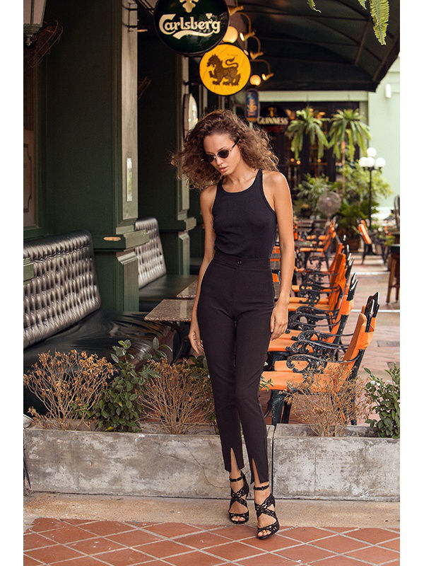Pants with slits. Color black criss cross back cami with pants