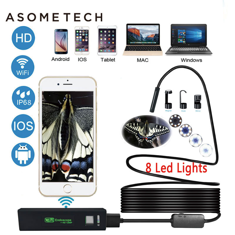 все цены на Wifi USB Endoscope HD 1200P Camera Semi Rigid Tube Inspection Wireless Borescope Snake Video Inspection Cameras for Android/iOS онлайн