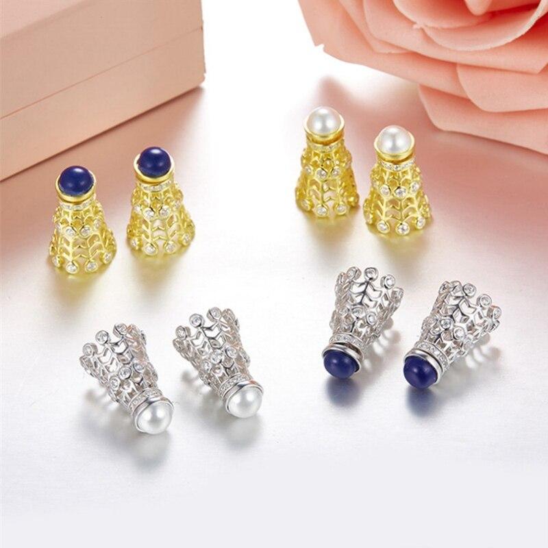 Boucles d'oreilles de raquette de Badminton en argent Sterling avec perles de zircon cubique autrichiennes S925 de haute qualité pour femmes en gros