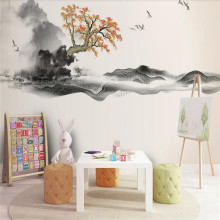New Chinese Ink Painting Landscape Chinese Style Zen Landscape Painting Production Wallpaper Mural Custom Photo Wall free shipping lotus ink shrimp chinese ink ground painting wallpaper kitchen park mall decoration thicken floor mural