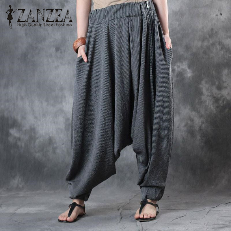 Fashion Harajuku ZANZEA Pockets High Elastic Waist Striped Long Harem Pants Female Autumn Drop-Crotch Lantern Trousers S To 5XL ...