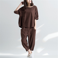 2018 New Fashion Loose Large Size Women Cover The Face Was Thin Cotton And Linen Loose Shirt + Nine Carrot Pants Two Sets HJB02