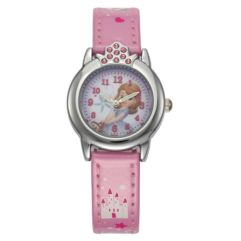 Disney Brand Children Girls Watches Quartz Genuine Leather Sofia Princess Cartoon Students Clocks Diamond Waterproof Wristwatch
