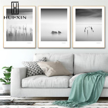 Modern Minimalist Landscape Scenery Sea Skyline Black and White Art Wall Decor Canvas Painting Print Poster for Living Room Hall