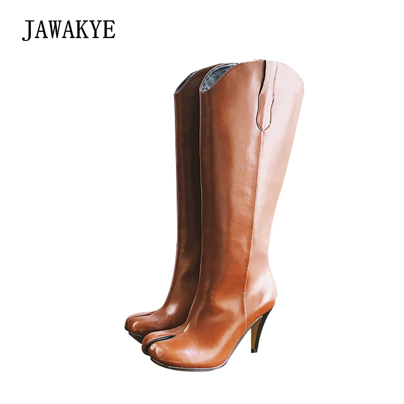 New Split toe Knee high Boots Women Genuine leather Rome thin High Heels  Winter Split finger Shos Woman Black brown knight boots 8d70896a596db