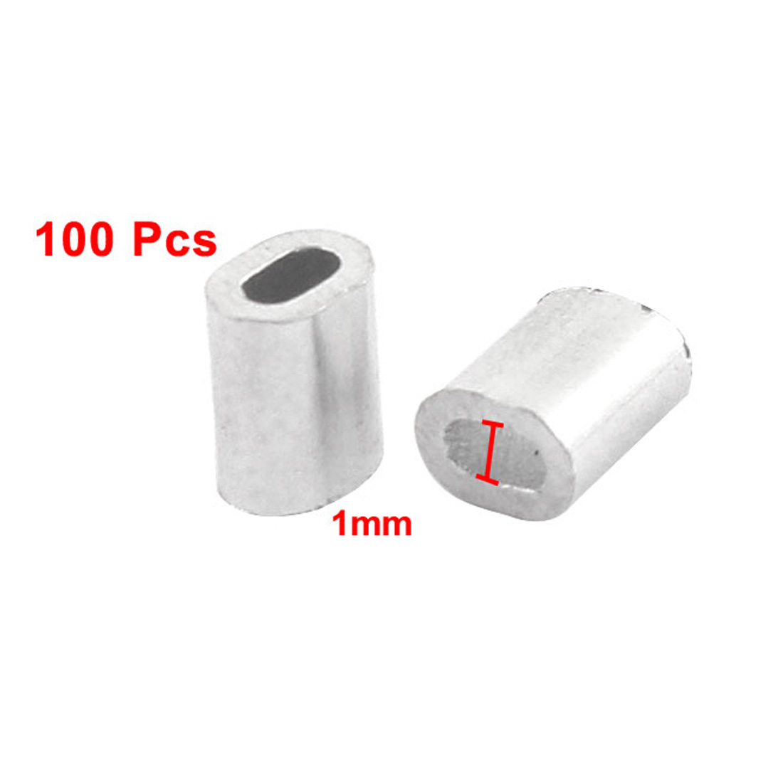 Sale UXCELL 100Pcs Oval Aluminum Sleeves Clamps For 1Mm Wire Rope ...