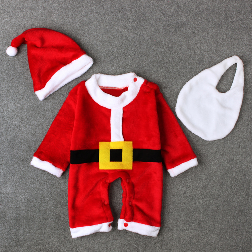 3pcs/set Christmas Costume Baby Kid Santa Claus Romper Hat Mustache Cosplay Suit To Invigorate Health Effectively
