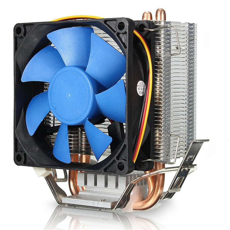 Aluminum 80mm CPU Cooling Fan Heatsink 2 Heatpipes CPU Cooler Fan Radiator For Intel LGA775/1155/1156 AMD 754/939/940/ AM2 three cpu cooler fan 4 copper pipe cooling fan red led aluminum heatsink for intel lga775 1156 1155 amd am2 am2 am3 ed