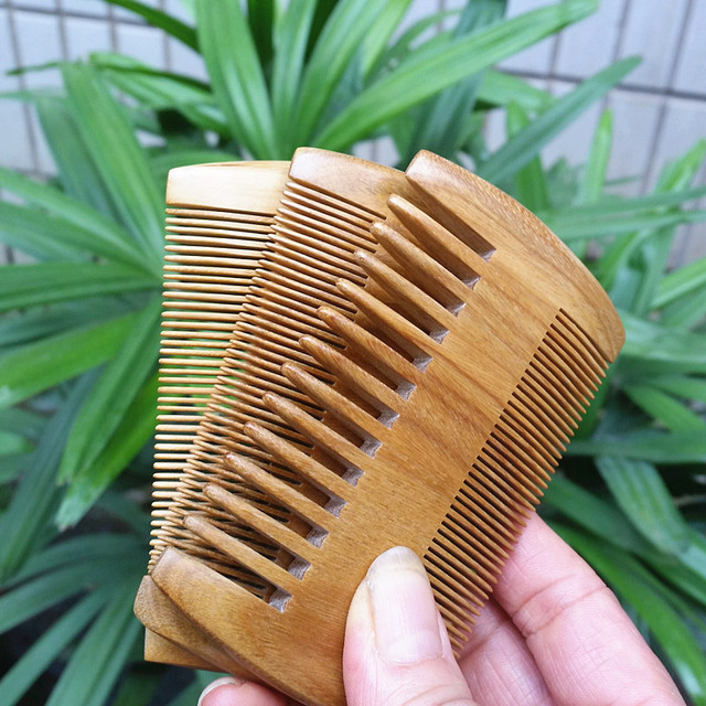 MC Brand Green Sandalwood Beard Comb Pocket Handmade Hair Combs Pure Natural Wood Comb Hair Brush Professional	Hairbrush 9-3  1