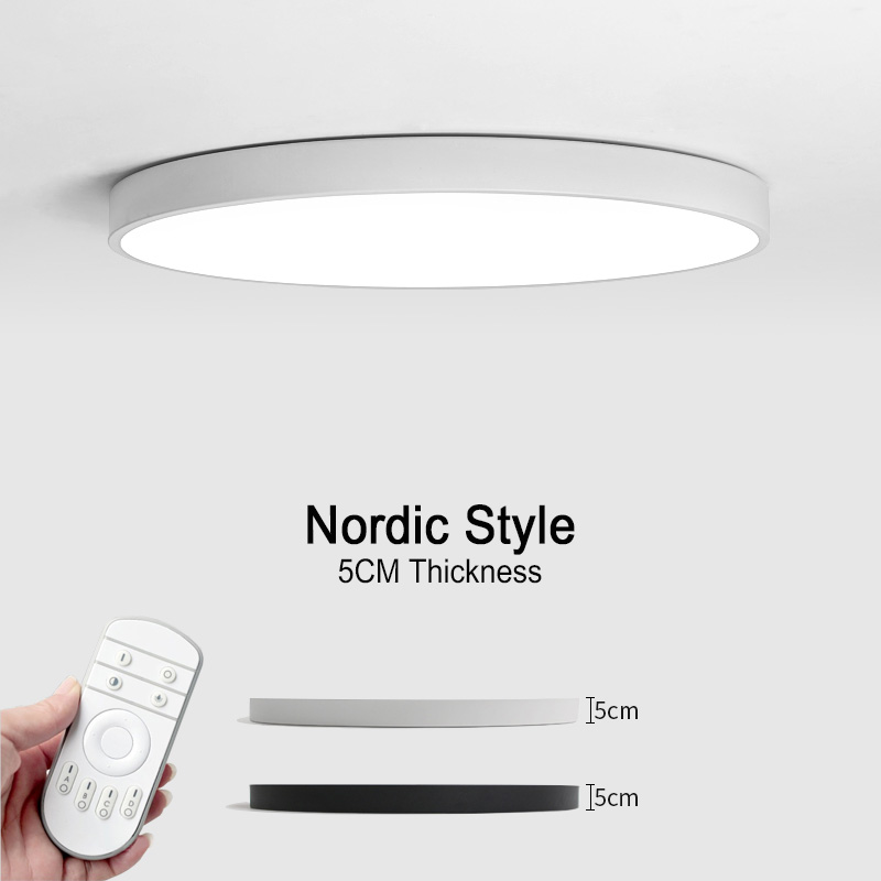 LED Modern Ceiling Lights Nordic Style Ceiling Lamps Remote Control Dimmable Color Change Iron Fixture Living Room Bedroom