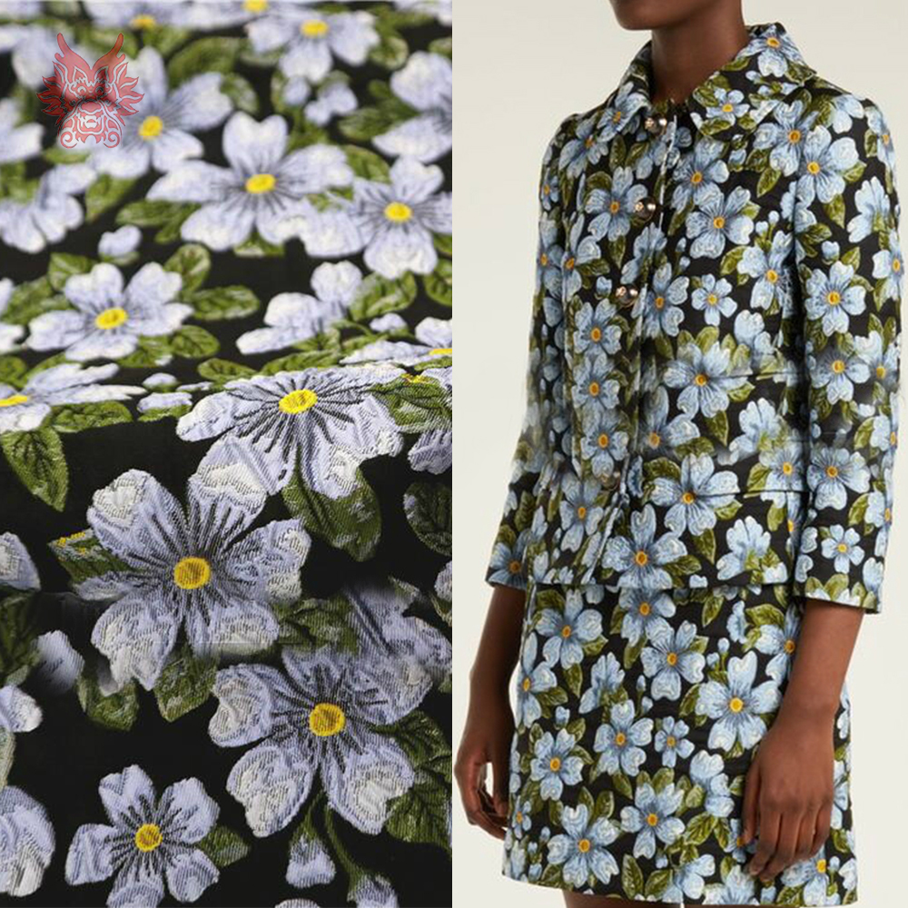 Elegante bloemen jacquard brokaat stof kleding voor jurk jas groen tissu tecidos stoffen telas garen doek SP5602 GRATIS VERZENDING-in Stof van Huis & Tuin op  Groep 1