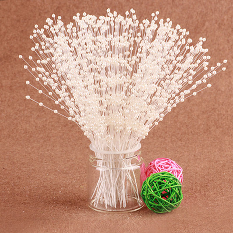 10PCS Wedding Bouquet Charms Artificial Flower Home Decor The Spray Of Pearl Beads Wire Stems Bridal Hair Decoration Accessories