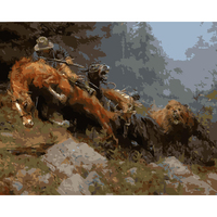 FUNIQUE Hunting Cowboy Oil Painting By Numbers Frameless Digital Wall Art Pictures Nordic Canvas DIY Room