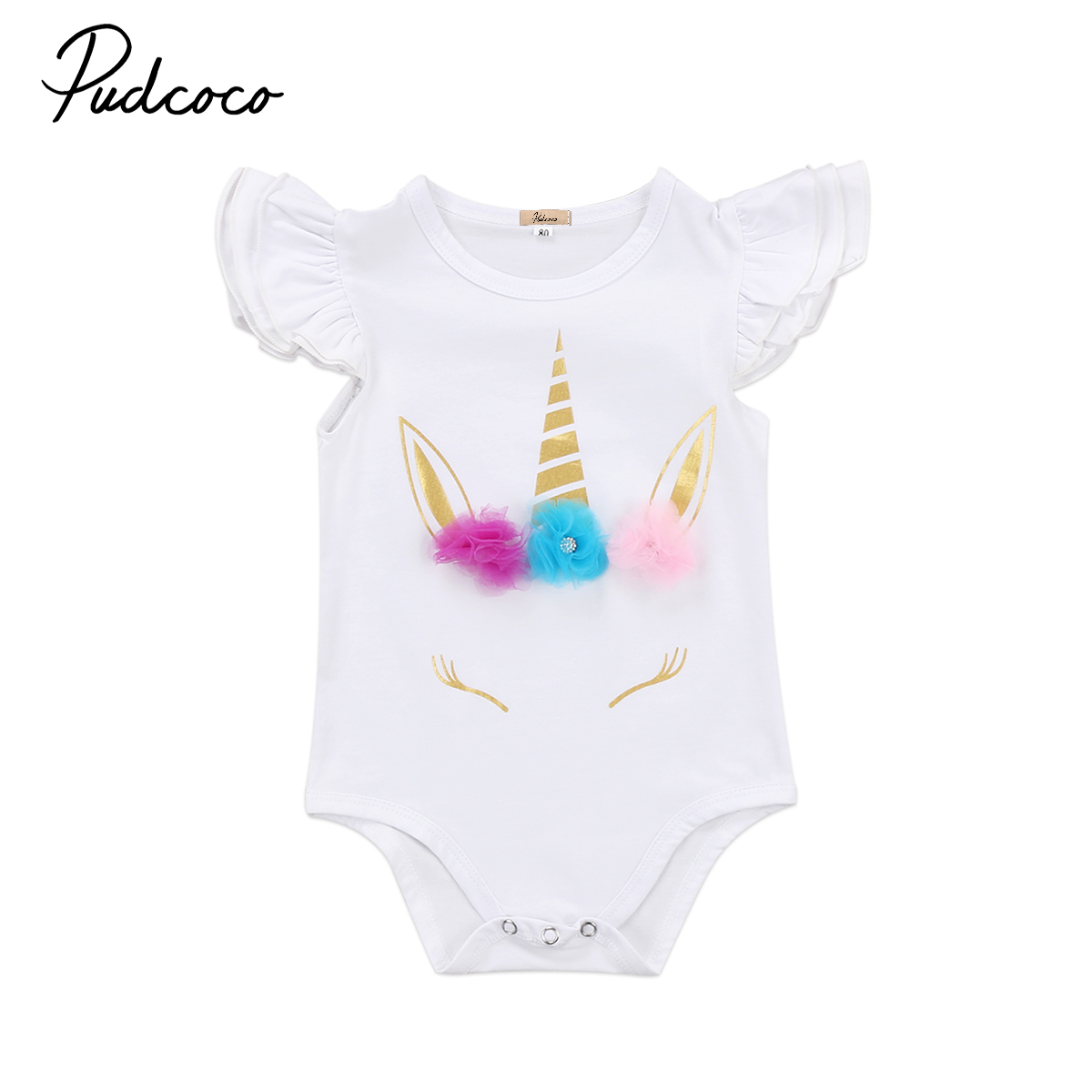 74872702d0fd Unicorn Infant Baby Girls Romper Floral Ruffle Playysuit Sunsuit Summer  Autumn Infant Newborn Girls Clothes Outfits-in Rompers from Mother   Kids  on ...