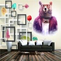 Cartoon Purple Bear Childern Wallpapers Modern Creative 3D Wallpapers for Kids Room Home Decor Custom Photo Wallpapers Murals