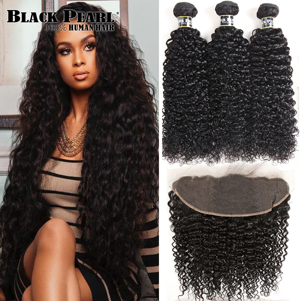 Black Pearl Brazilian Kinky Curly Lace Frontal Closure with Bundles Non Remy Curly Hair 3 Bundles