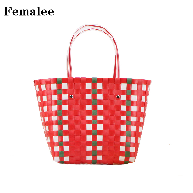 FEMALEE Colorful Plaid Bucket Women Hand Bag Basket Hand Weave Summer Totes Waterproof Casual Beach Grid Shopping Totes Handbag