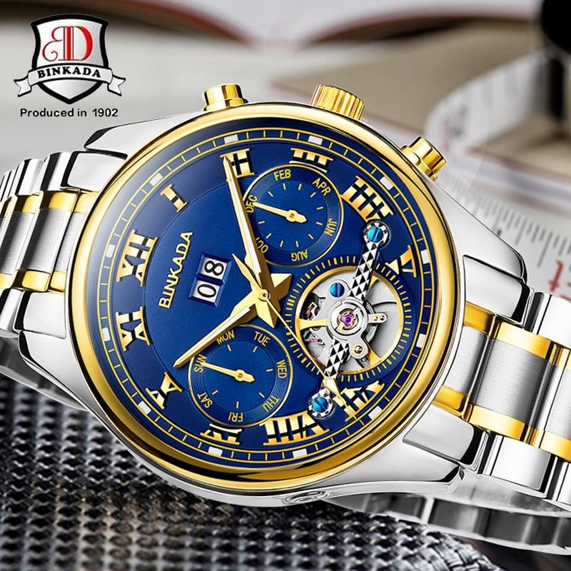 أعلى العلامة التجارية الفاخرة الهيكل العظمي الميكانيكية ووتش BINKADA جديد توربيون الرجال الساعات ساعة الرجال الذهب ساعات أوتوماتيكية الرجال ساعة اليد-في الساعات الميكانيكية من ساعات اليد على  مجموعة 2