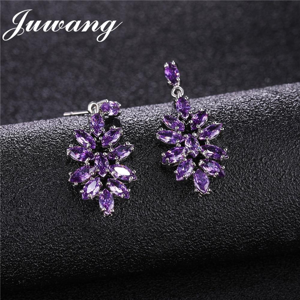 JUWANG nouveau élégant fleur forme goutte déclaration boucles d'oreilles pour femme minuscule CZ argent couleur Noble mariée mariage Brincos bijoux