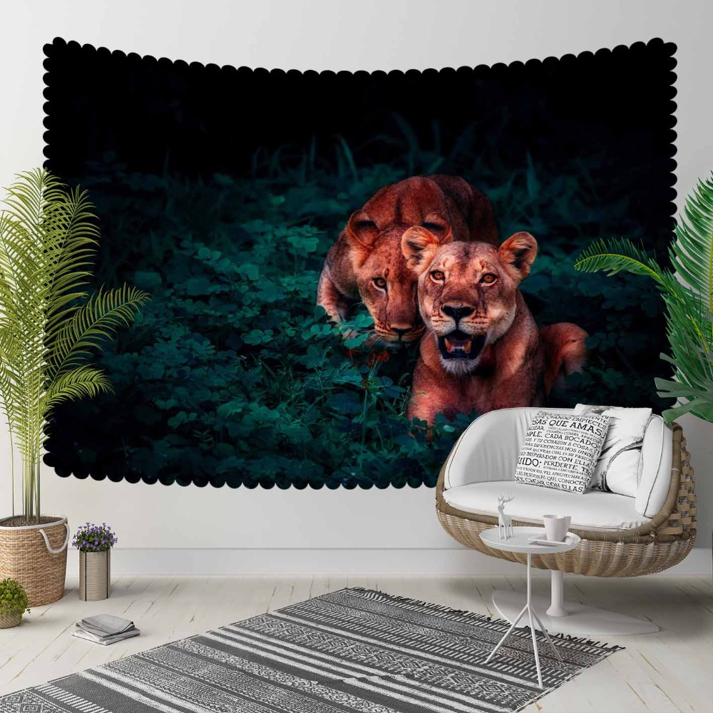 Else Black Green Jungle Leaves Wild Tigers Animals 3D Print Decorative Hippi Bohemian Wall Hanging Landscape Tapestry Wall Art