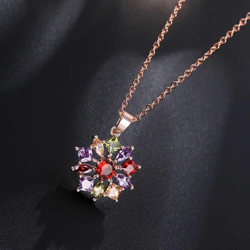 CARSINEL Luxus Blume Farbe Gold Schmuck Sets Für Frauen Hochzeit mit Bunten AAA Kubikzircon Großhandel JS0135