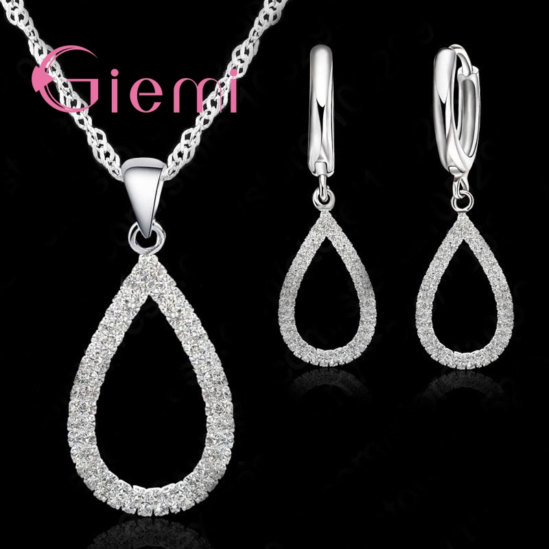 Statement Drop Water Drop Shape Bar Jewelry Sets Shiny Drop Earrings Novel Necklaces 925 Sterling Silver