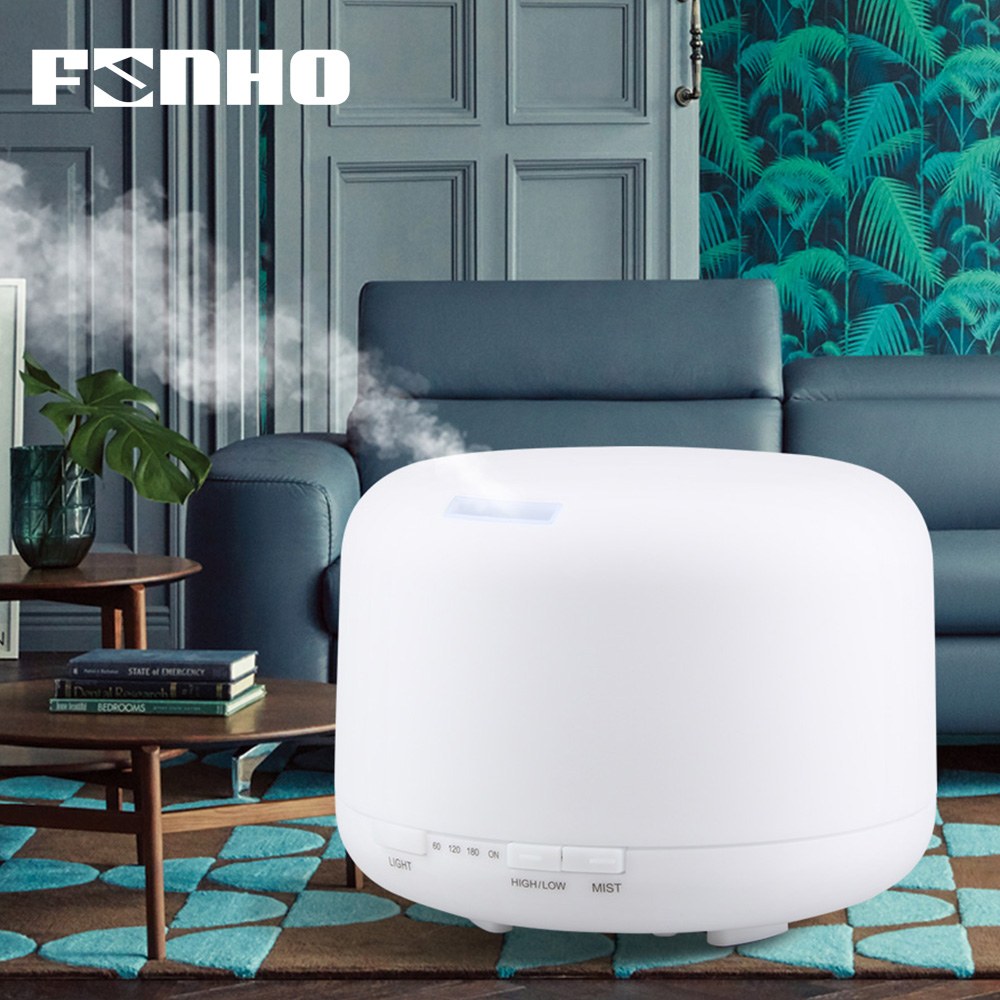 FUNHO 500ml Aroma Humidifier Essential Oil Diffuser Ultrasonic Air Aromatherapy Hmidificador 7 Color Change LED Night Light Home